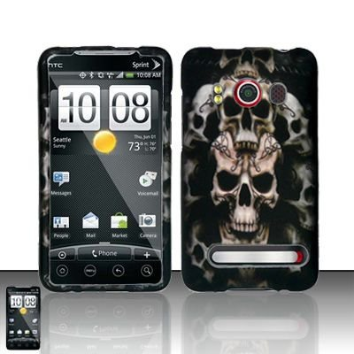 Hard Rubber Feel Design Case for HTC EVO 4G (Sprint) - Ancient Skulls