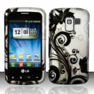 Hard Rubber Feel Design Case for LG Enlighten/Optimus Slider - Black Vines