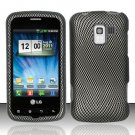 Hard Rubber Feel Design Case for LG Enlighten/Optimus Slider - Carbon Fiber