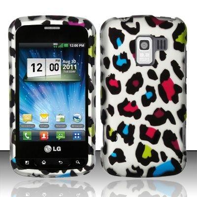 Hard Rubber Feel Design Case for LG Enlighten/Optimus Slider - Colorful Leopard