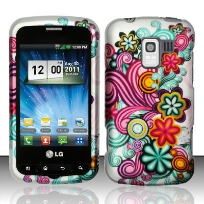 Hard Rubber Feel Design Case for LG Enlighten/Optimus Slider - Purple Blue Flowers