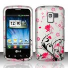 Hard Rubber Feel Design Case for LG Enlighten/Optimus Slider - Pink Garden