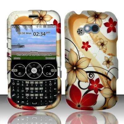 Hard Rubber Feel Design Case for LG 900g (StraightTalk) - Red Flowers