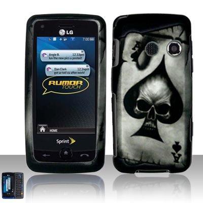Hard Rubber Feel Design Case for LG Rumor Touch/Banter Touch (Sprint/MetroPCS) - Spade Skull