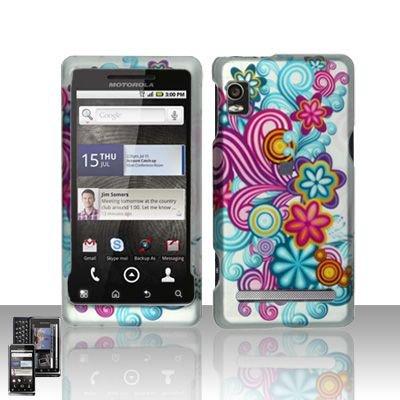 Hard Rubber Feel Design Case for Motorola Droid 2 A955 (Verizon) - Purple Blue Flowers