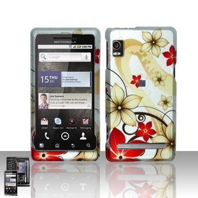 Hard Rubber Feel Design Case for Motorola Droid 2 A955 (Verizon) - Red Flowers