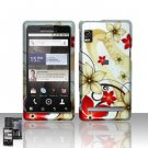 Hard Rubber Feel Design Case for Motorola Droid 2 A955 (Verizon) - Red Flowers