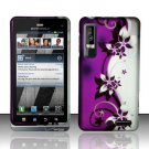 Hard Rubber Feel Design Case for Motorola Droid 3 (Verizon) - Purple Vines