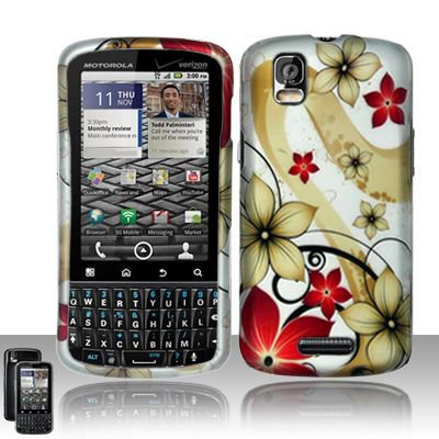 Hard Rubber Feel Design Case for Motorola Droid Pro XT610 (Verizon) - Red Flowers