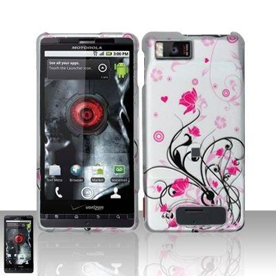 Hard Rubber Feel Design Case for Motorola Droid X MB810 (Verizon)/Milestone X - Pink Garden