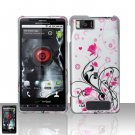 Hard Rubber Feel Design Case for Motorola Droid X MB810 (Verizon)/Milestone X - Pink Garden