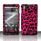 Hard Rubber Feel Design Case for Motorola Droid X MB810 (Verizon)/Milestone X - Pink Leopard