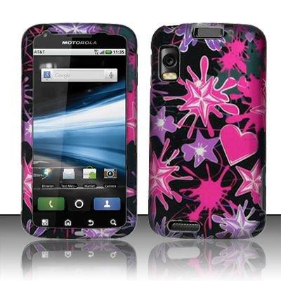 Hard Rubber Feel Design Case for Motorola Atrix 4G MB860 (AT&T) - Love Splash