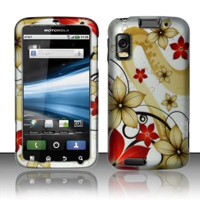 Hard Rubber Feel Design Case for Motorola Atrix 4G MB860 (AT&T) - Red Flowers