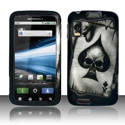 Hard Rubber Feel Design Case for Motorola Atrix 4G MB860 (AT&T) - Spade Skull