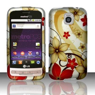 Hard Rubber Feel Design Case for LG Optimus M/C - Red Flowers