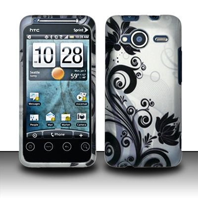 Hard Rubber Feel Design Case for HTC EVO Shift 4G - Black Vines