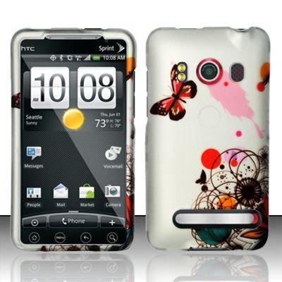 Hard Rubber Feel Design Case for HTC EVO 4G (Sprint) - Butterfly Paint