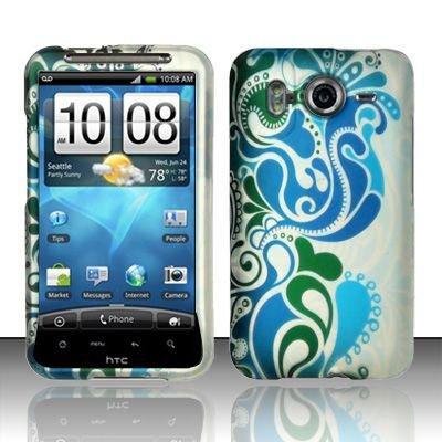Hard Rubber Feel Design Case for HTC Inspire 4G/Desire HD - Blue Swirl