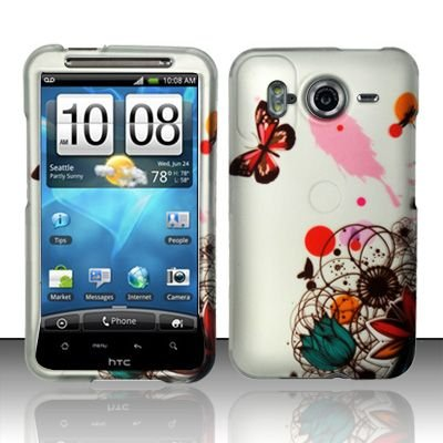 Hard Rubber Feel Design Case for HTC Inspire 4G/Desire HD - Butterfly Paint