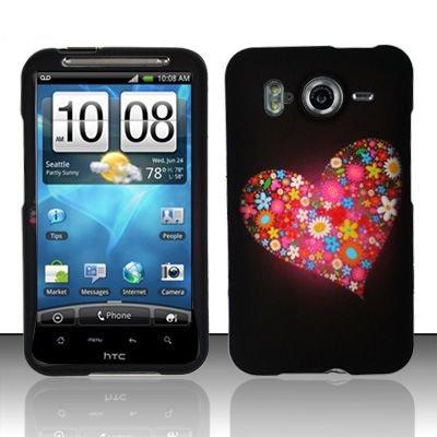 Hard Rubber Feel Design Case for HTC Inspire 4G/Desire HD - Flowery Heart