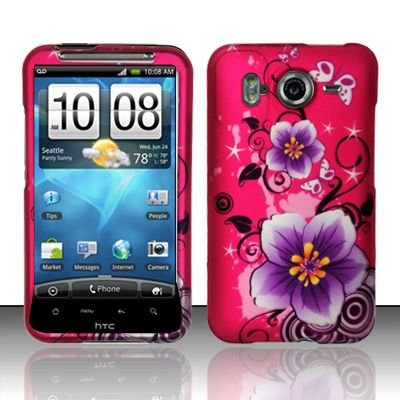 Hard Rubber Feel Design Case for HTC Inspire 4G/Desire HD - Hibiscus Flowers