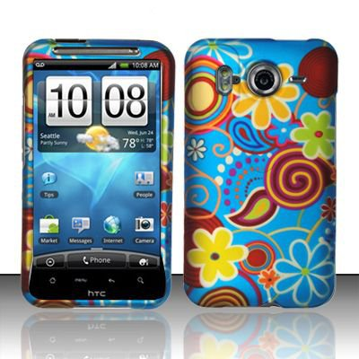 Hard Rubber Feel Design Case for HTC Inspire 4G/Desire HD - Summer Flowers