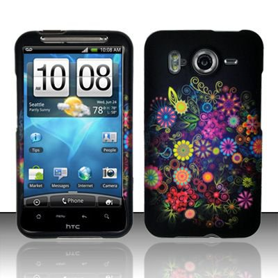 Hard Rubber Feel Design Case for HTC Inspire 4G/Desire HD - Flower Fireworks