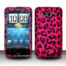 Hard Rubber Feel Design Case for HTC Inspire 4G/Desire HD - Pink Leopard