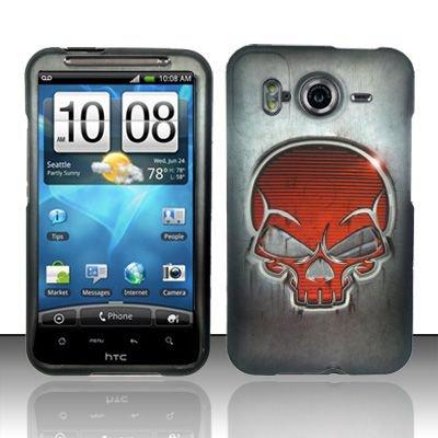 Hard Rubber Feel Design Case for HTC Inspire 4G/Desire HD - Red Skull