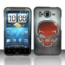 Hard Rubber Feel Design Case for HTC Inspire 4G/Desire HD - Red Skull