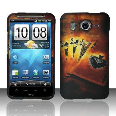 Hard Rubber Feel Design Case for HTC Inspire 4G/Desire HD - Royal Cards