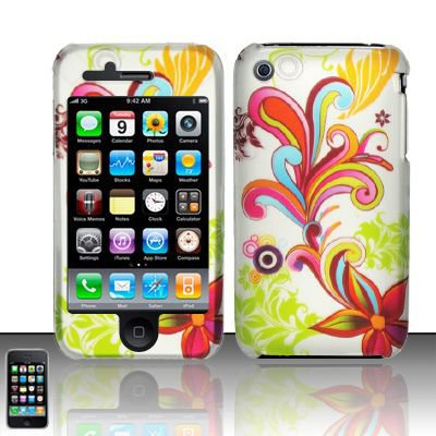 Hard Rubber Feel Design Case for Apple iPhone 3G/3Gs - Stunning Flowers
