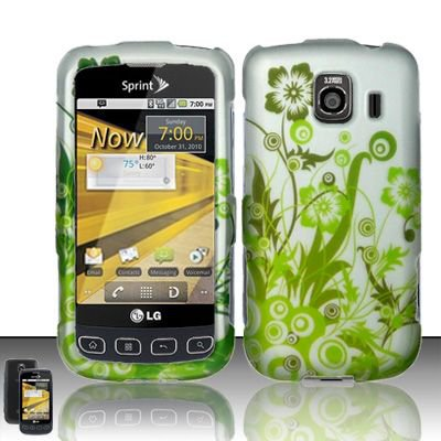 Hard Rubber Feel Design Case for LG Optimus S/U/V - Green Vines