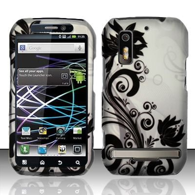 Hard Rubber Feel Design Case for Motorola Photon 4G MB855 (Sprint) - Black Vines