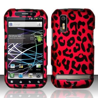 Hard Rubber Feel Design Case for Motorola Photon 4G MB855 (Sprint) - Pink Leopard