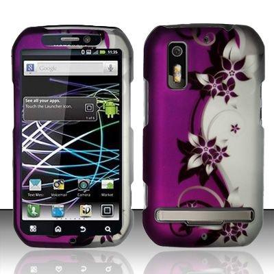 Hard Rubber Feel Design Case for Motorola Photon 4G MB855 (Sprint) - Purple Vines