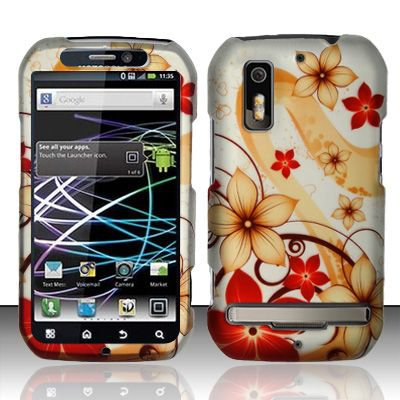Hard Rubber Feel Design Case for Motorola Photon 4G MB855 (Sprint) - Red Flowers