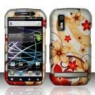 Hard Rubber Feel Design Case for Motorola Photon 4G MB855 (Sprint) - Red Flowers