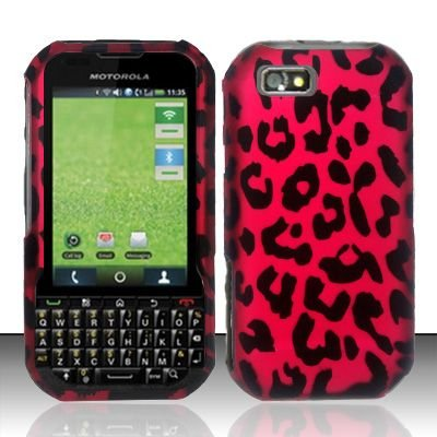 Hard Rubber Feel Design Case for Motorola Titanium i1x (Sprint) - Pink Leopard