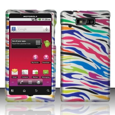 Hard Rubber Feel Design Case for Motorola Triumph WX435 (Virgin Mobile) - Colorful Zebra