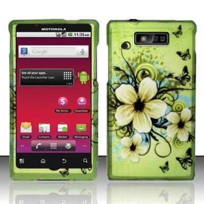 Hard Rubber Feel Design Case for Motorola Triumph WX435 (Virgin Mobile) - Hawaiian Flowers