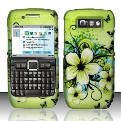 Hard Rubber Feel Design Case for Nokia E71 - Hawaiian Flowers