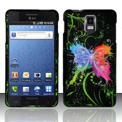 Hard Rubber Feel Design Case for Samsung Infuse 4G - Rainbow Butterfly
