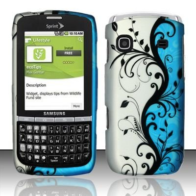 Hard Rubber Feel Design Case for Samsung Replenish M580 - Blue Vines