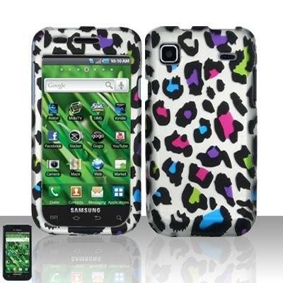 Hard Rubber Feel Design Case for Samsung Vibrant/Galaxy S T959 - Colorful Leopard