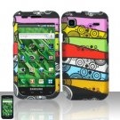 Hard Rubber Feel Design Case for Samsung Vibrant/Galaxy S T959 - Colorful Stripes