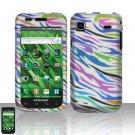 Hard Rubber Feel Design Case for Samsung Vibrant/Galaxy S T959 - Colorful Zebra