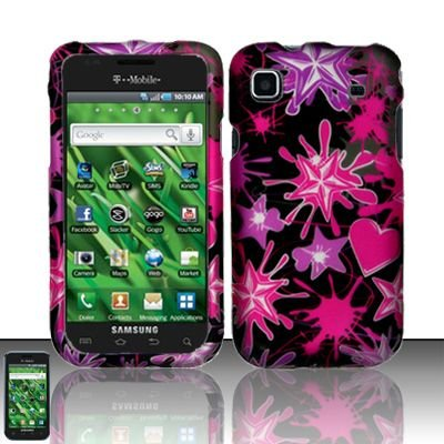 Hard Rubber Feel Design Case for Samsung Vibrant/Galaxy S T959 - Love Splash