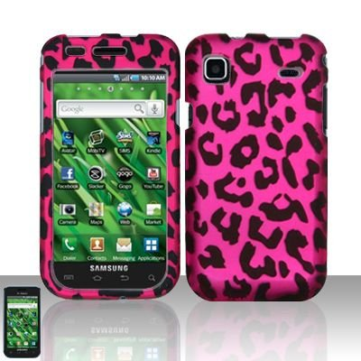 Hard Rubber Feel Design Case for Samsung Vibrant/Galaxy S T959 - Pink Leopard